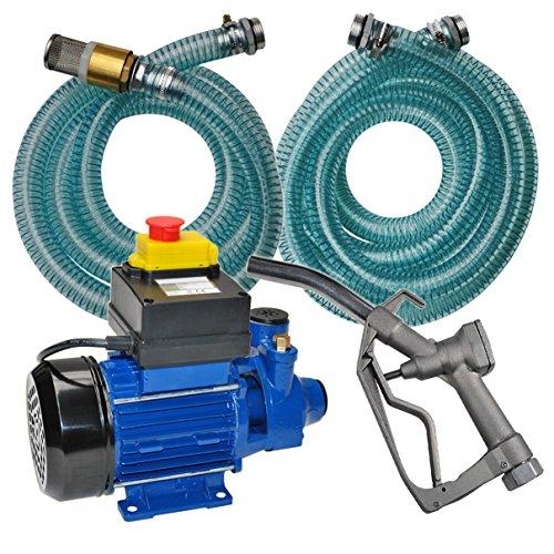 Helo Dieselpumpe Heizölpumpe 600 Watt 230 Volt Tankstelle mit Rückschlagventil, 2400l/h Pumpleistung, Kraftstoffpumpe mit Alu-Zapfpistole, 4m Abgabeschlauch und 2m Saugschlauch