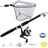 Physionics - Kit de pêche pour débutants - Canne à pêche 2,4 m et accessoires : moulinet, truble, hameçons, flotteur etc.