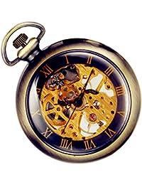Lancardo Orologio [2 Pezzi] Meccanico da Tasca per Uomo Quadrante Numeri Romani, Manuale Trasparente Bronzo Regalo Perfetto