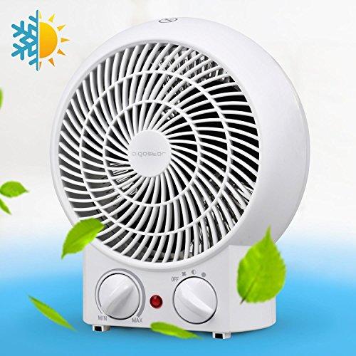 Aigostar Airwin White 33IEK - Calefactor de aire con termostato regulable, función de aire caliente de dos niveles o ventilador con temperatura ambiente, potencia de 2000 watios, , color blanco. Protección contra el sobrecalentamiento. Diseño exclusivo.