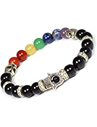 Crystu Black Tourmaline Bracelet & 7 Chakra Bracelet With Hosana Charm Bracelet For Reiki Healing And Meditation...