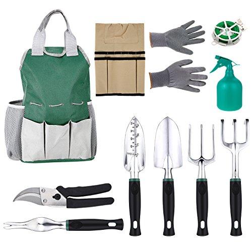 flabor Multifunktion 11 in 1 Gartenwerkzeug Set Gartenpflege mit Tasche, Handgeräte Garten für Gartenarbeit (11 Zoll Tasche Werkzeug)