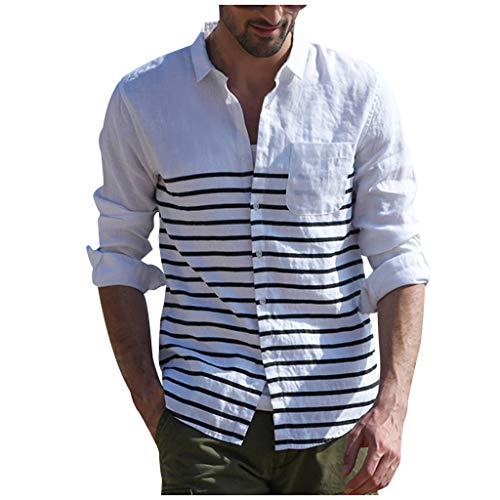 Missqq camicie da uomo allentata comode e traspiranti lino maniche lunghe stile slim estivo slim grandad collar spiaggia camicie shirts uomo casual rigata slim fit coreana