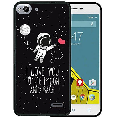 WoowCase Vodafone Smart Ultra 6 Hülle, Handyhülle Silikon für [ Vodafone Smart Ultra 6 ] Astronaut Herz - I Love to The Moon and Back Handytasche Handy Cover Case Schutzhülle Flexible TPU - Schwarz