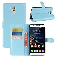 Oukitel U16 Max Case, HualuBro [All Around Protection] Premium PU Leather Wallet Flip Phone Protective Case Cover with Card Slots for Oukitel U16 Max Smartphone (Blue)