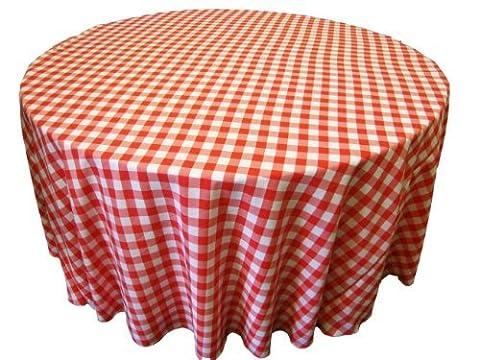 LA Linen Poly Checkered Round Tablecloth, 120-Inch, Coral/White by LA Linen