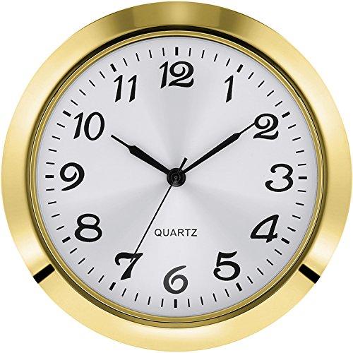 2-1/ 8 Zoll (55 mm) Quarzuhreinsatz, Zink-Legierung Metallgehäuse, Arabische Ziffer, Weißes Gesicht (Gold)