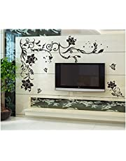 Oren Empower Creative Black Flower Art Large Wall Sticker (Finished Size on Wall - 150(w) x 76(h) cm)
