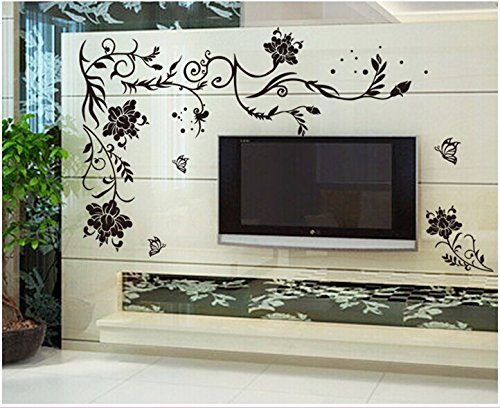 Oren Empower Creative Black Flower Art Large Wall Sticker (Finished size on...
