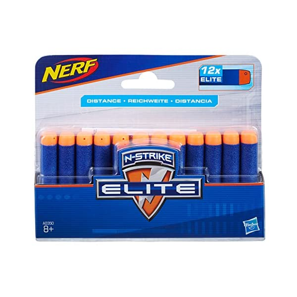 Nerf Official 12 Dart Elite Refill Pack for N-Strike Elite AccuStrike Zombie Strike Modulus Toy Blasters, Multicolor