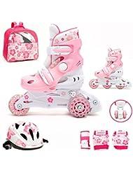 Kinder Inliner Inline Skates verstellbar Set Triskates mit Schutzset Helm Rucksack Rollschuhe Mädchen pink