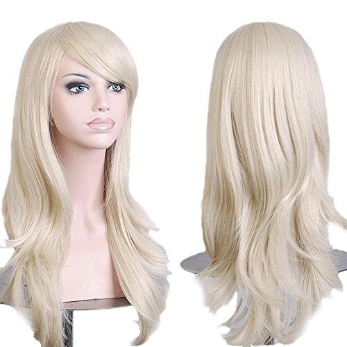 S-noilite® Damen Gelockt Gewellt Lang haar Perücke Volle Perücken Cosplay Kunsthaar Wig blonde (Schwarz Weiß Und Clip Kostüm Art)