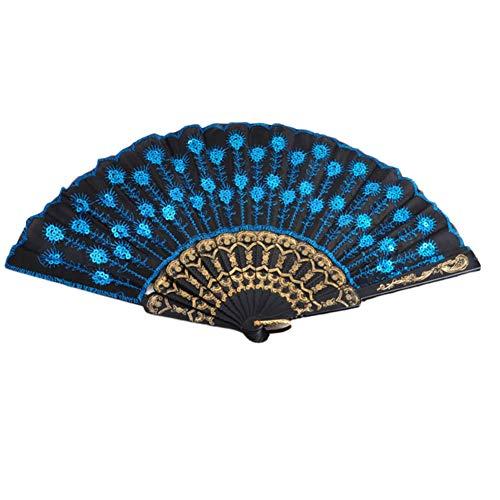 Tanz Peacock Kostüm - Aisoway Peacock Sequin Tanz Fan Dekorative Fans Plastiktuch Folding Hand Tanz Requisiten Dekoration für Feiern Blau