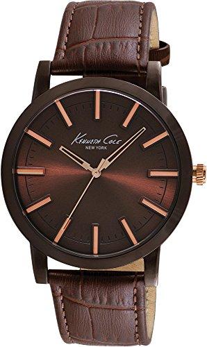 Kenneth Cole IKC8044–Uhr mit PU-Armband für Herren, Braun/Grau (Herren Kenneth Cole Uhren Braun)
