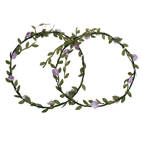 Bandeau-SODIAL(R) 2 pcs Dame Boho Floral Fleur Festival Mariage Guirlande Front Bandeau Bande de cheveux - Lavande