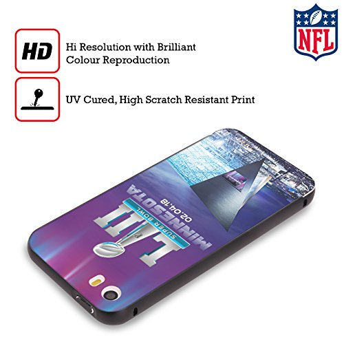 Ufficiale NFL Modelle 2 2018 Super Bowl LII Nero Cover Contorno con Bumper in Alluminio per Apple iPhone 5 / 5s / SE US Stadio Banca