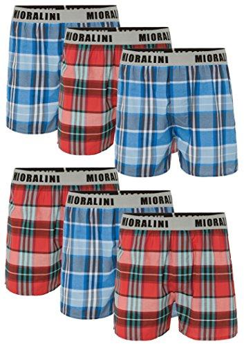 6 oder 4 Web Boxershorts 100% Baumwolle lockere US Style Webboxer kariert in vielen Mustern, Herren Boys Short Jungen Boxer Gewebte Boxer Größen: S M L XL 2XL 3XL 4XL, Muster 06, 2XL-8 -