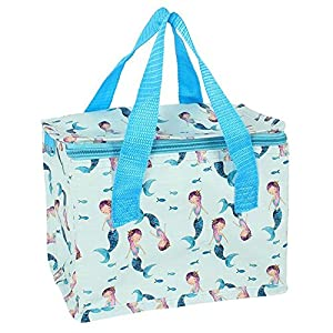 51gdmcF8WUL. SS300  - Mermaid Lunch Bag Cool Box Snack Sandwich Picnic Insulated Kids Break Fun For Her Sea Fish