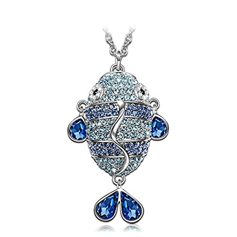 J.NINA Enchanted Fish SWAROVSKI crystals Pendant Women Necklace Jewellery Birthday Gifts Valentines Gifts Mothers Day Gifts Christmas Gifts Anniversary Gifts Wedding Gift for Wife Mother Daughter