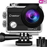 "Crosstour Action Camera Waterproof Wifi Cam 2"" LCD Screen Full HD 1080P 98ft Underwater 170° Wide-angle Sports Camera with 2 Rechargeable 1050mAh Batteries and 20 Mounting Accessory Kits"
