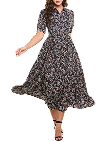 ACEVOG Damen Elegant Vintage Kleid Lang Halb Arm Revers Blumenmuster Maxikleid Sommerkleid Chiffonkleid Empire Kleid (Lange Empire Kleid)