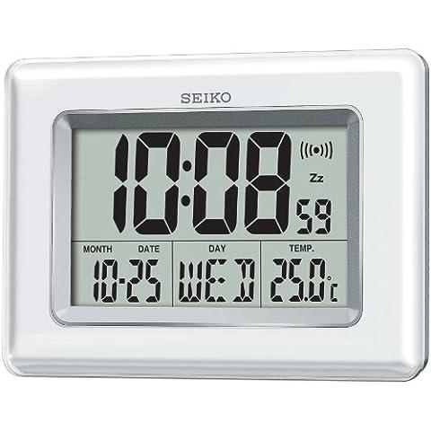 Seiko QHL058W - Orologio digitale LCD, colore: Bianco perlato