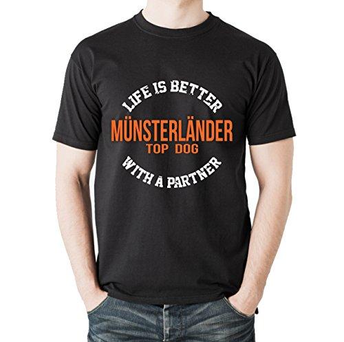Siviwonder Unisex T-Shirt MÜNSTERLÄNDER - LIFE IS BETTER PARTNER Hunde Schwarz