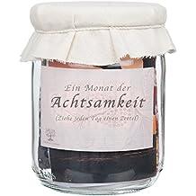 Achtsamkeit - Ein Monat Achtsamkeit Mindfulness Herausforderung : Rustikales Glas voll mit täglichen Achtsamkeitsübungen / Achtsamkeitstraining