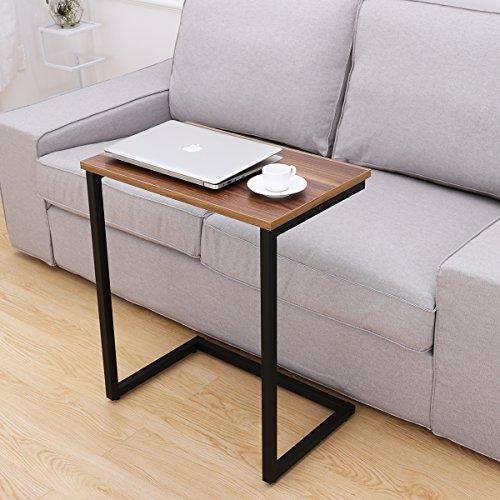 Homemaxs Sofa Beistelltisch Couch Beistelltisch Laptoptisch Holz und Stahl für Kaffee, Snacks,...