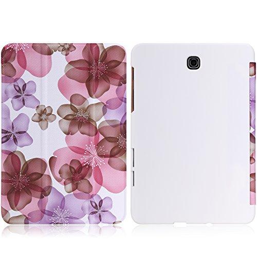 MoKo Samsung Galaxy Tab S2 8.0 Case - Ultra Sottile Leggero Supporto Custodia per Samsung Galaxy Tab S2 8.0 inch Tablet, Floreale Viola (con Smart Cover Auto Sveglia/Sonno)