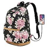 MORGLOVE Blumen Schulrucksack Mädchen Teenager Canvas Freizeit Groß Rucksack Damen mit USB und Viel Platz für Schule Uni Schwarz