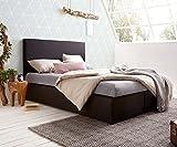 DELIFE Bett Elexa Schwarz 140 x 200 cm Matratze und Topper Federkern Boxspringbett