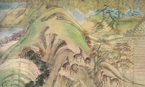Shigisan Engi Emaki scroll painting Illustrating Legends sull' Priest Myoren mostrando balle di riso che viene spedito posteriore attraverso l' aria per la casa del proprietario stampa artistica