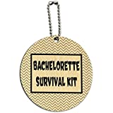 Bachelorette Survival Kit Chevrons Black Round Wood ID Tag Luggage Card Suitcase