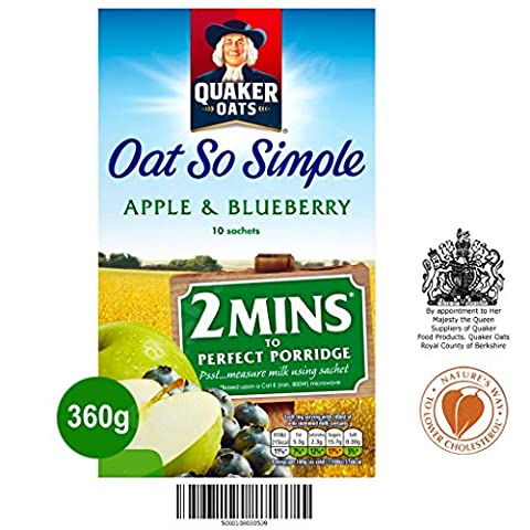 Quaker Oat So Simple Apple & Blueberry 10 x 36g - Vollkorn Haferflocken mit Apfel & Heidelbeeren