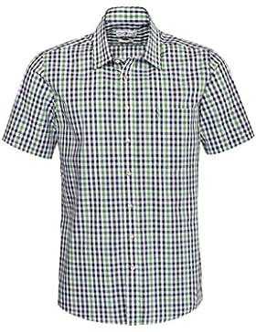 Almsach Kurzarm Trachtenhemd Fonsi Regular Fit mehrfarbig in Hellgrün und Dunkelgrün inklusive Volksfestfinder