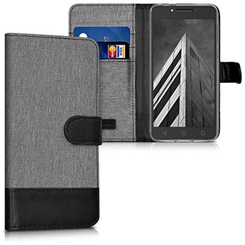 kwmobile Alcatel A5 LED Hülle - Kunstleder Wallet Case für Alcatel A5 LED mit Kartenfächern und Stand