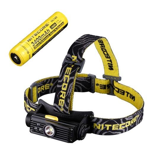 Combo: Nitecore HC90 Rechargeable XM-L2 LED Headlamp - 900 Lumens w/NL189 Rechargeable 18650 Battery Rapid Micro Usb
