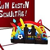 """3D Karte """"Zum Ersten Schultag!"""" - Pop Up Karte zur Einschulung als Einladung, Gutschein, Einaldungskarten & Geschenk für die Schultüte – bunte Pop Up Karte für Jungen & Mädchen"""