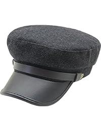 187449c4fffe42 Lerben Mens Women Fashion Vintage Army Cadet Military Navy Sailor Cap Flat  Top Hats Brim Visor