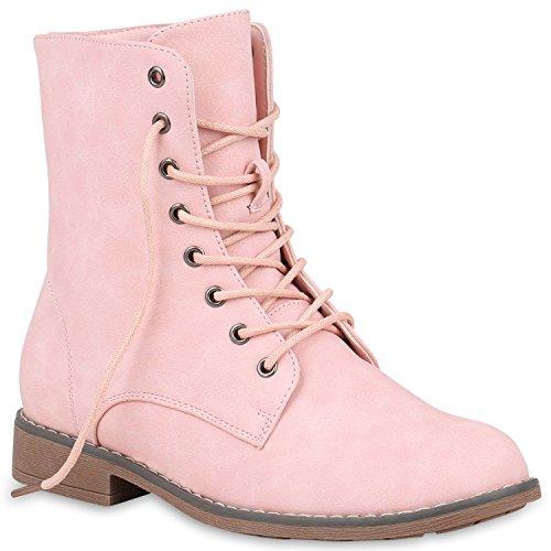 Gefütterte Damen Stiefeletten Stiefel Worker Boots Schuhe 151347 Rosa Brooklyn 40 Flandell