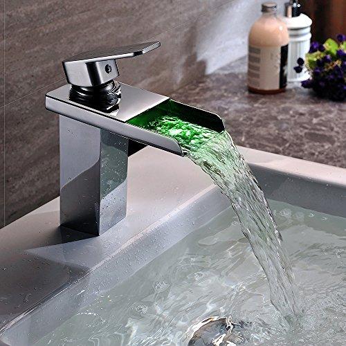Homelody – Wasserfall-Waschtischarmatur, Einhebel, LED-Beleuchtung, Temperatur-Farbwechsel, Chrom - 3