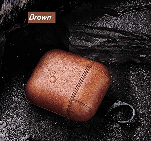 Mysail Leather Skin Fit Vintage Matte Leather Hook Case Cover Compatible with Apple Airpods Protective - Brown Image 7