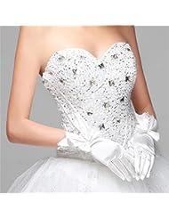DELLT- Coréen dentelle blanc satin lunettes long gant robe de mariée robe gants