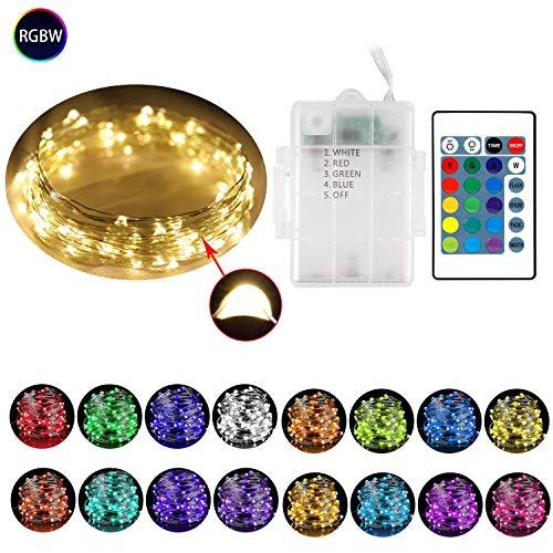 MojiDecor RGB Led Lichterkette 10M 100 LEDs Kupferdraht Lichterkette 16 Farben Wasserdicht IP65 Weihnachtsbeleuchtung mit Fernbedienung Innen- Außenbeleuchtung für Weihnachten Hochzeit Party Garten