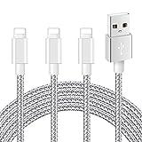 Mitesbony Cable Chargeur Phone Lot de 3 2m en Nylon Tressé Cordon Certifié CE Compatible avec Phone X/8/8 Plus/7/7 Plus/6 Plus/6s/6/5S/5c/5,Pad Air,Pad 2/3 (Gris argenté)