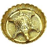 Sakoraware Brass Metal Tortoise Turtle Kachua On Metal Plate For Good Luck Fengsui Gift Item For Vastu Home Décor (5 Inch Diameter), Golden-