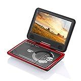 9.8' SOYAR Tragbarer DVD Player mit 270 ° Drehbarem Display Unterstützt USB SD,Spiele-Joystick,AV IN/OUT(3 Stunden Akku) Red