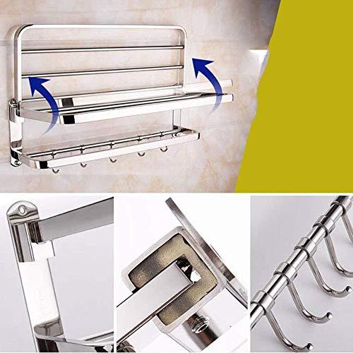 Yetta Regal-Wc-Lagerregal Edelstahl 304 Handtuchhalter Folding Towel Rack Badezimmer-Regal Edelstahl 304 Badezimmer-Hardware-Anhänger-Sets (Handtuchhalter/Handtuchhalter/Tissue-Box/Toilettenbürs (Hardware Shelf Folding)
