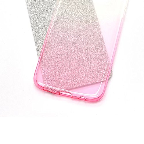 iPhone 7 Plus Hülle, Vandot Schutzhülle für iPhone 7 Plus Handyhülle(5.5 Zoll) mit Kratzfeste Stoßdämpfende Transparent Ohr Maus Mouse TPU Silikon Case Cover Diamant Bling Crystal Handy Schale Tasche  Gradient Rosa